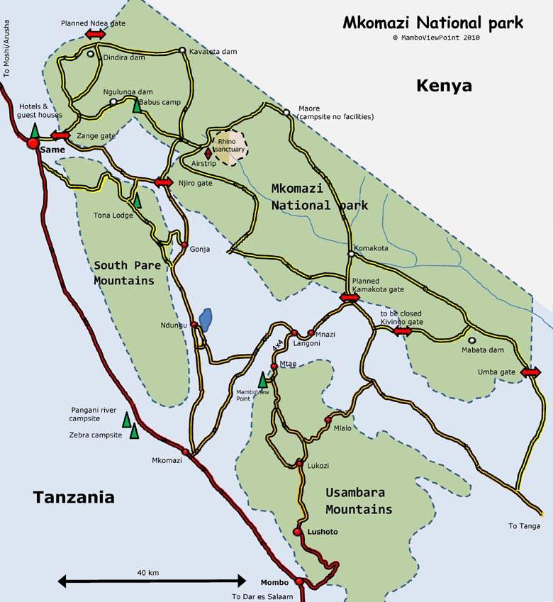 Mkomazi National Park Maps